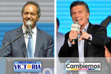 Treten am 22. November zur Stichwahl an: Scioli und Macri