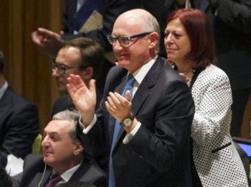 Argentiniens Außenminister Héctor Timerman nach Verkündung der Entscheidung der Generalversammlung