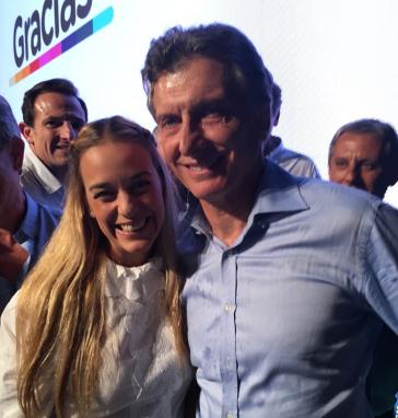 Lilian Tintori feiert mit Mauricio Macri dessen Wahlsieg