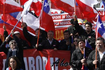 Großdemonstration für die Arbeitsreform im September 2014 in Santiago de Chile