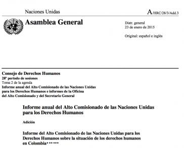 Titelblatt des UNHRC-Berichtes