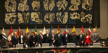 Die Unasur-Außenminister bei ihrem Treffen am Samstag in Ecuador