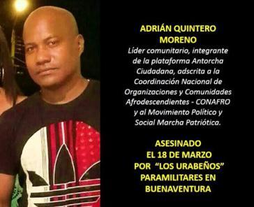 Wurde am 18. März 2016 von Paramilitärs ermordet: Adrián Quintero Moreno, Gemeindeaktivist und Mitglied von Marcha Patriótica
