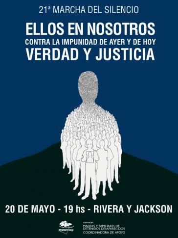 Plakat zum 21. Schweigemarsch in Montevideo