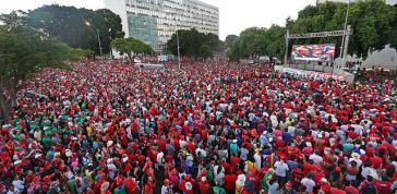 Demonstranten gegen die Amtsenthebung in Brasília ...
