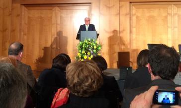 Außenminister Steinmeier (SPD) bei seiner Rede über die Colonia Dignidad in Chile
