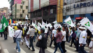 "Pro-Morales-Demonstration für das ""Sí"" in Cochabamba"