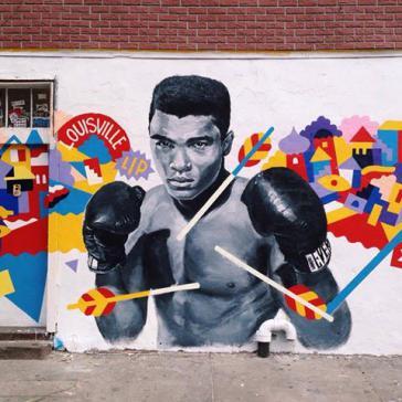 Wandbild des Künstlers Brolga in Alis Geburtsort Louisville, Kentucky