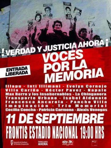 Plakat des Gedenkkonzerts 43 Jahre nach dem Putsch in Chile