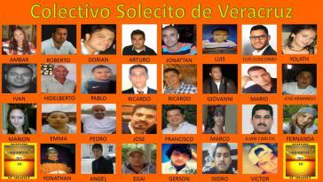 """Bilder von einigen der 70 Verschwundenen, die """"Kleine Sonne von Veracruz"""" derzeit sucht. Die Gruppe ist eine Bürgerinitiative, die nach Verschwundenen sucht"""
