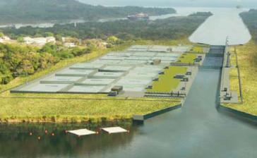 Modellbild der neuen Schleuse des Panamakanals