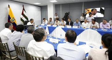 Präsident Correa beim Gespräch mit internationalen Pressevertretern am Mittwoch