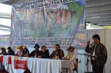 Präsident Morales eröffnete das internationale Treffen sozialer Bewegungen