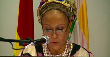 Piedad Córdoba, Sprecherin von Marcha Patriótica.  Zwei Millionen Pesos werden für die Ermordung von sieben Mitgliedern der Bewegung angeboten