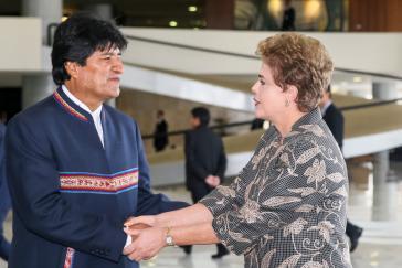 Präsidentin Rousseff begrüßte Morales am Dienstag in Brasília