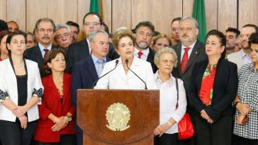 Präsidentin Rousseff gab nach ihrer vorläufigen Suspendierung am 12. Mai eine Erklärung ab