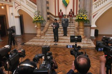 Präsident Morales am Montag bei einer Pressekonferenz zum Konflikt mit Chile