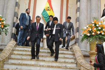 Morales und Wang Yi am Donnerstag in La Paz