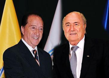 Im März 2014 herrschten noch glückliche Zeiten für Eugenio Figueredo Aguerre (links) und Joseph Blatter