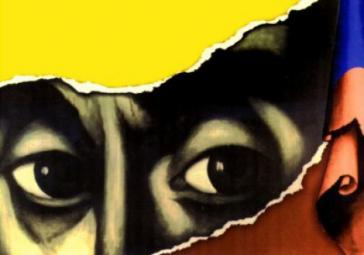 """Eines der Farc-Logos: Simón Bolívar, der Anführer der südamerikanischen  Unabhängigkeitsbewegung gegen die spanischen Kolonialisten, """"vermummt"""" mit der kolumbianischen Fahne"""