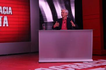 García Linera im Interview mit dem staatlichen Fernsehsender Bolivia TV