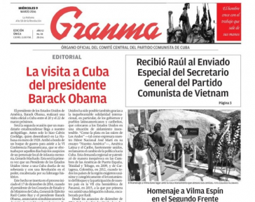 Titelseite der Granma vom 9. März