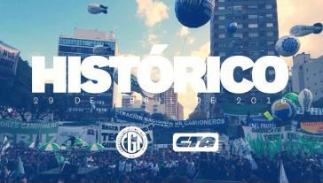 Plakat zu den letzten massiven Protetsen der Gewerkschaften in Argentinen