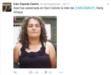 Senator Cepeda informiert über den Mord an Nelly Amaya