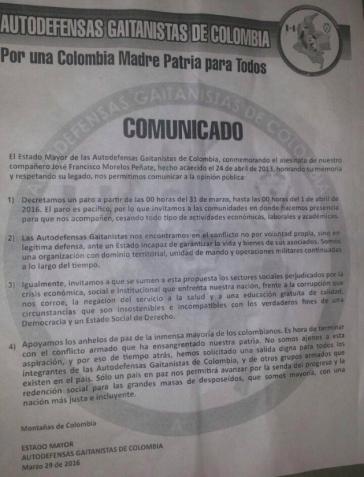 """Ankündigung des bewaffneten Streiks durch die """"Gaitán-Selbstverteidigungsgruppen Kolumbiens"""" (AGC)"""