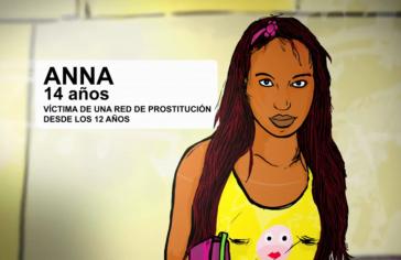 """Kampagne zum Schutz von Kindern und Jugendlichen vor Zwangsprostitution anlässlich der Fußball-WM der Männer in Brasilien: """"Anna, 14 Jahre, Opfer eines Prostitutionsringes seit ihrem 12. Lebensjahr"""" (Screenshot)"""