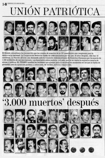 """Bilder von einigen der Opfer der linken Partei """"Unión Patriótica"""" in Kolumbien"""