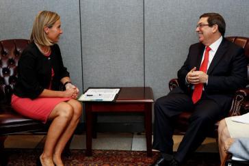 EU-Außenbeauftragte Federica Mogherini und Kubas Außenminister Bruno Rodríguez Parrilla bei einem Treffen im September bei der UNO in New York