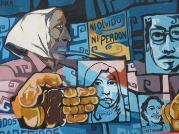 """""""Kein Vergeben, kein Vergessen"""": Bild zu Ehren der """"Madres"""" im Stadtteil La Boca in Buenos Aires. Es wurde vom Wandmaler Lucas Quinto entworfen und von Schülern der Escuela de Adultos Nº 29 de La Boca angefertigt"""