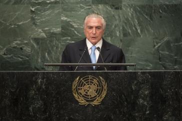 Wollten nicht alle hören: Michel Temer vor der UNO
