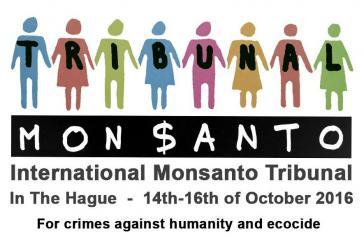 """Plakat zum Monsanto-Tribunal """"wegen Verbrechen gegen die Menschheit und Ökozid"""""""