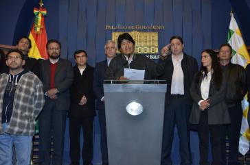 Präsident Evo Morales bei der Pressekonferenz am Freitag