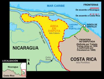 Das umkämpfte Gebiet befindet sich an der Mündung des Río San Juan an der karibischen Küste zwischen Costa Rica und Nicaragua