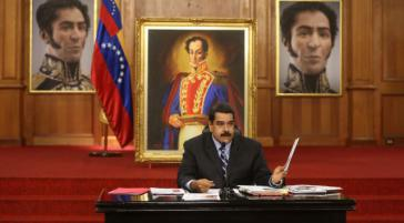 Venezuelas Präsident Nicolás Maduro am Dienstag bei der Pressekonferenz
