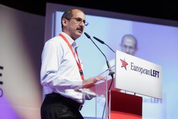 PCC-Funktionär Carrillo (hier auf dem 4. Kongress der Europäischen Linken in Madrid)