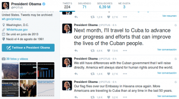 Via Twitter kündigte Obama seinen Kuba-Besuch an