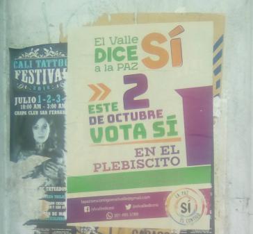 "Plakat der ""Ja""-Kampagne in Kolumbien"