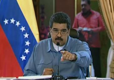Präsident Maduro während der Kabinettssitzung am Montag