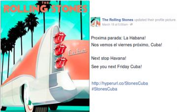 """Ankündigung auf der Facebook-Seite der Stones: """"Nächster Stopp: Havanna! Wir sehen uns am kommenden Freitag, Kuba!"""""""