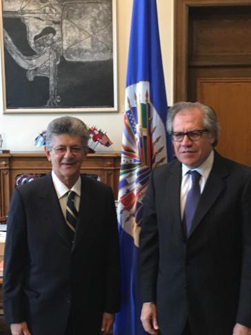 Henry Ramos Allup und OAS-Generalsekretär Luis Almagro in Washington