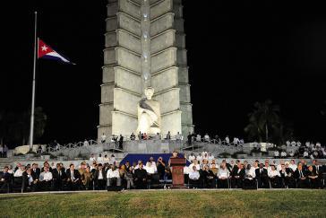 Raúl Castro bei seiner Ansprache vor dem Denkmal für José Martí auf dem Platz der Revolution in Kubas Hauptstadt Havanna