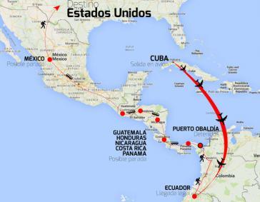 Die Route von Schleppern für kubanische Migranten in die USA