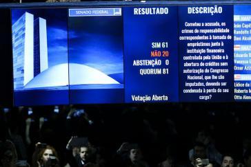 Abstimmung im Senat:  61 Stimmen für, 20 gegen die Absetzung Rousseffs