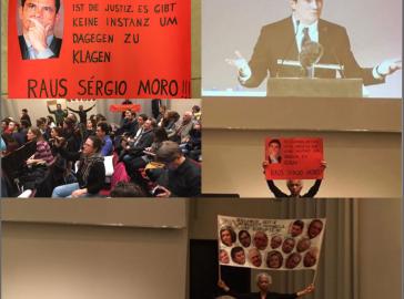 Collage der Proteste während der Veranstaltung