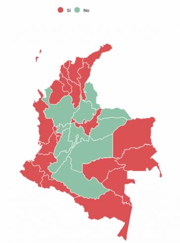 In den Grenzregionen, die vor allem vom bewaffneten Konflikt betroffen sind,  stimmte eine Mehrheit für das 'Ja'. Die Wahlbeteiligung lag bei nur 37 Prozent