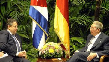 Sigmar Gabriel (SPD) und Rául Castro (PCC)